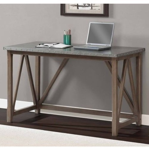 Zinc Top Bridge Desk – The Contemporary Design of This Desk Compliments Any Room: Office, Home, Hall, Study, Living Room or Apartment. Sturdy Grey Desk That Is Built to Last. Wood Table for Writing or For Sale
