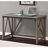 Zinc Top Bridge Desk - The Contemporary Design of This Desk Compliments Any Room: Office, Home, Hall, Study, Living Room or Apartment. Sturdy Grey Desk That Is Built to Last. Wood Table for Writing or Laptop or Desktop Computer. Spacious Grey Stylish Top.