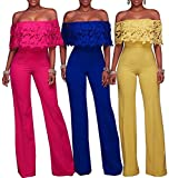 #6: FairBeauty Women Casual Sexy Off Shoulder High Waist Long Pant Wide Leg Ruffle Party Lace Jumpsuits Rompers