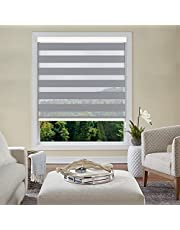 """GRLIVA Window Blinds Dual Layer Light Grey Zebra Roller Blinds,Light Filtering Sheer or Privacy Blinds for Windows, Day and Night Window Shades for Home, Custom Cut to Size,52"""" W x 36"""" H"""