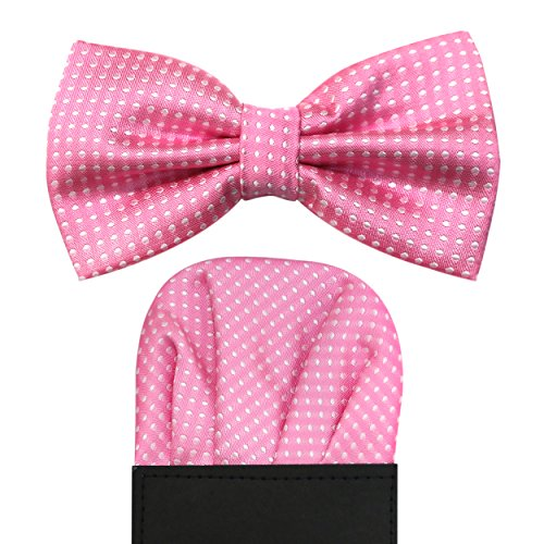 Pre White Pre Matching Bow Dot Pink Satin folded Adjustable 2pc Square Pocket Tie tied Accessory Set Light amp; Polka PFUpwcqgtp