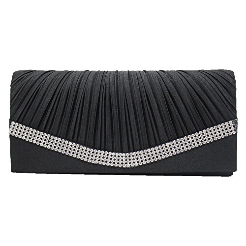 Pleated Handbag Girl Crystal Wiwsi Lady Satin turquoise Evening Purse Clutch blue Bag Party Diamante 0wnZZRU