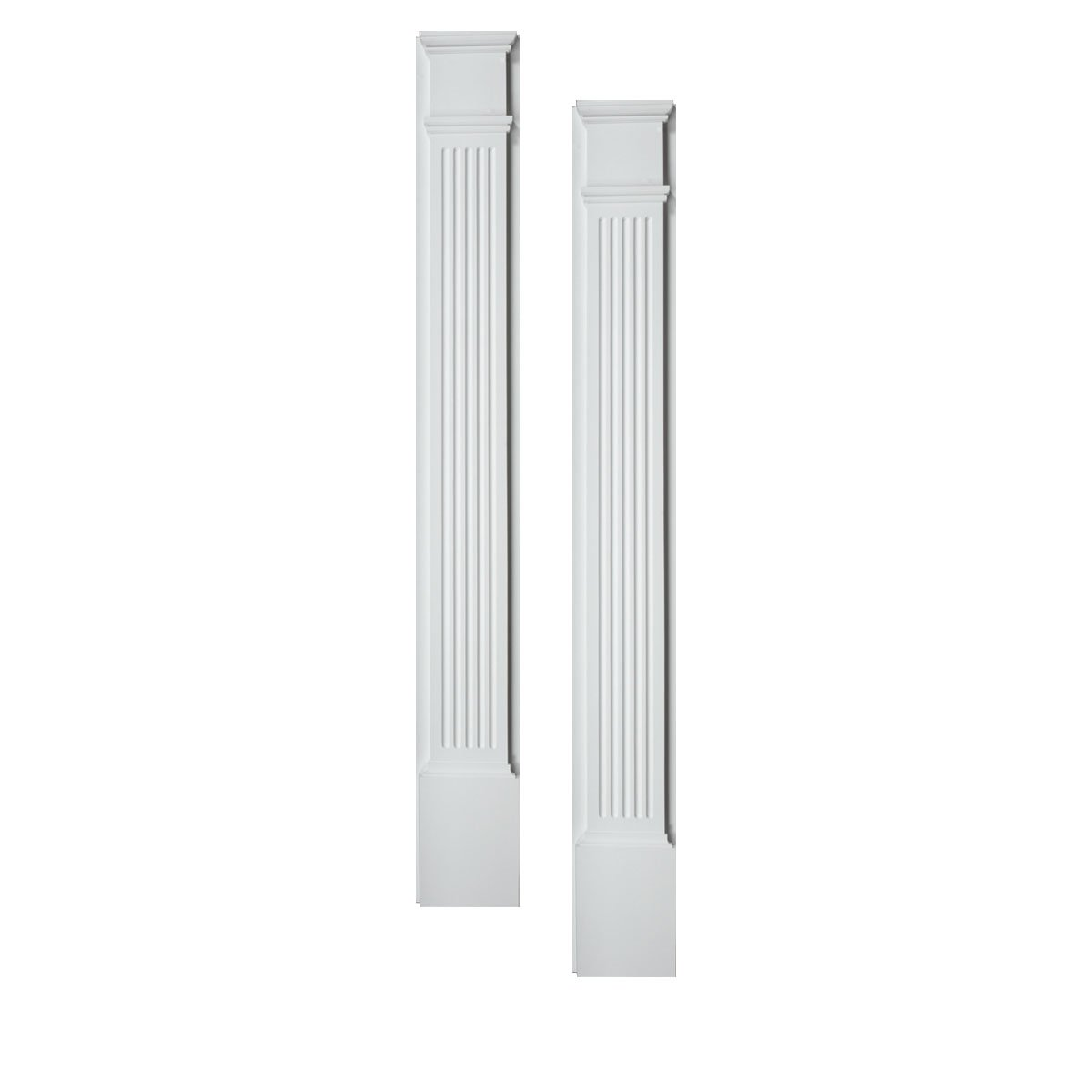 Fypon PIL4X86 4 1/2''W x 86''H x 1 5/8''P Fluted Pilaster, Moulded with Plinth Block (Set of 2), 1 Piece