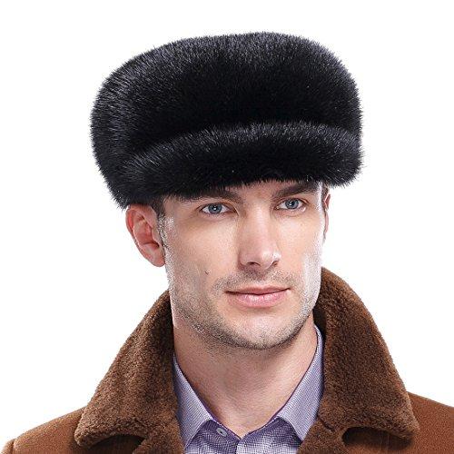 URSFUR Mink Full Fur Mink Fur Applejack Hat Newsboy Caps (One Size, (Fur Newsboy)
