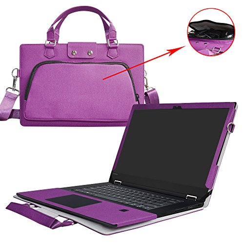 Flex 5 15 Case,2 in 1 Accurately Designed Protective PU Leather Cover + Portable Carrying Bag for 15.6 Lenovo Flex 5 15 1570 Series Laptop(Not Fit Flex 4/Flex 5 14),Purple