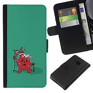 LECELL--Cuero de la tarjeta la carpeta del tirón Smartphone Slots Protección Holder For HTC One M9 -- Divertido Ayuda Jug fresca --