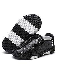 ENERCAKE Toddler Boys Girls Loafer Shoes Soft Synthetic Leather Slip On Moccasin Kids Flat Boat Dress Shoes(Toddler/Little Kid)(10 Toddler, C-Black)