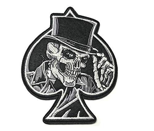 ACE of Spades Biker Motorcycles Jacket T Shirt Patch Hog Outlaw Hot Rod Motorcycles Rider Lady Biker Sew Iron on Embroidered Badge Sign Costume DIY Appliques Application -
