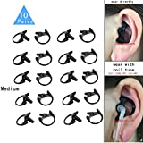 Replacement Earmold Earbud (Left and Right Ear) for Two Way Radio Acoustic Coil Tube Earpiece - Open Ear Insert Earmould Earbuds Black, Medium, Soft Silicone Material, 10 Pairs, Lsgoodcare