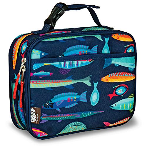 LONECONE Kids' Insulated Fabric Lunchbox - Cute Patterns for Boys and Girls, Sea Food, Standard with Buckle ()