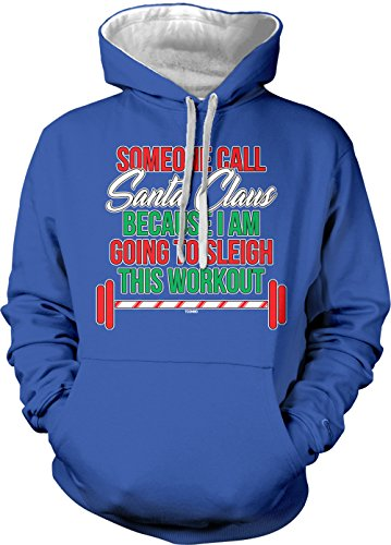 Tone Sleigh Two (Tcombo Sleigh This Workout Adult Two Tone Hoodie Sweatshirt (Royal Blue/White Strings, XX-Large))