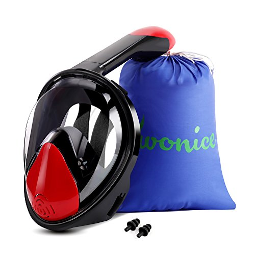 WONICE Snorkel Mask Full Face for Adults and Kids,180°Panoramic View Anti-Fog, Anti-Leak with Adjustable Head Straps,Compatible and Detachable GoPro Snorkeling & Swimming Mask (Black&Red, L/XL)