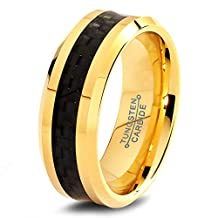 Tungsten Wedding Band Ring 8mm for Men Women Comfort Fit 18k Yellow Gold Black Carbon Fiber Brushed Lifetime Guarantee