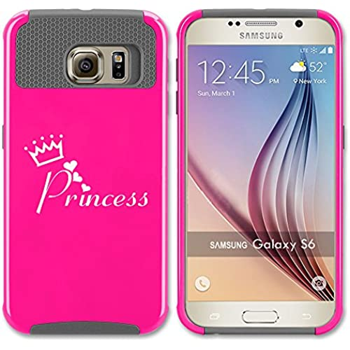 Samsung Galaxy S7 Edge Shockproof Impact Hard Case Cover Princess with Crown (Hot Pink-Grey ) Sales