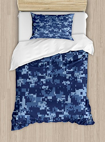 (Ambesonne Camo Duvet Cover Set Twin Size, Militaristic Digital Effected Armed Forces Pattern Grunge Fashion in Blue, Decorative 2 Piece Bedding Set with 1 Pillow Sham, Dark Blue Pale Blue)