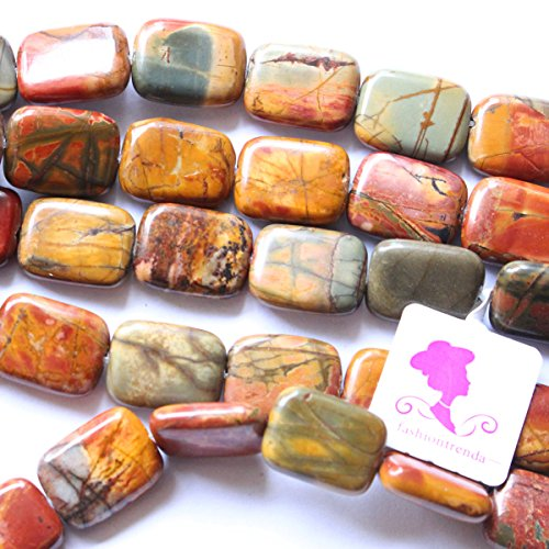 Natural Color Picasso Jasper Gemstone Jewelry Making Loose Beads for Necklace or Bracelet (Rectangle 12*16mm) Picasso Jasper Natural Stone