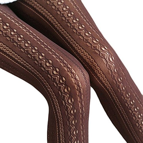Women Sexy Hollow Out Chiffon Fishnet Lace Vertical Strips Pantyhose Stockings Tights (Coffee)