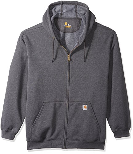 Carhartt Men's Big and Tall Midweight Zip Front Hooded Sweatshirt K122, Carbon Heather, 3X-Large