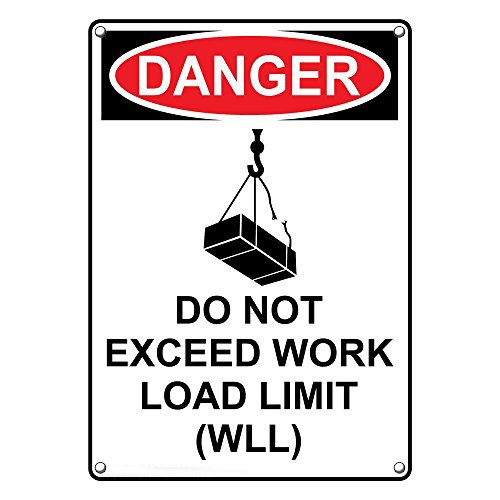 Weatherproof Plastic Vertical OSHA DANGER Do Not Exceed Work Load Limit (WLL) Sign with English Text and Symbol by SignJoker (Image #2)