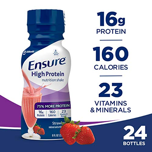 Ensure High Protein Nutrition Shake with 16 grams of high-quality protein, Meal Replacement Shakes, Low Fat, Strawberry, 8 fl oz, 24 count