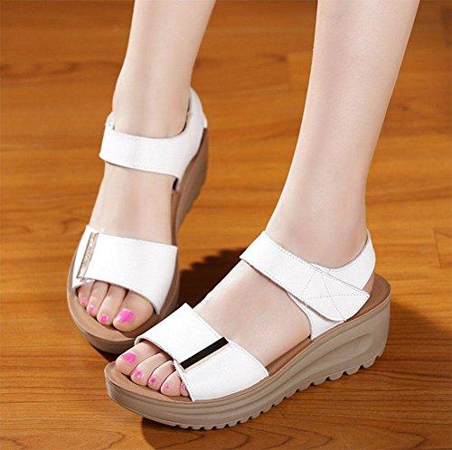 Pendiente con zapatos de plataforma de fondo grueso de las sandalias de las sandalias planas silvestres C