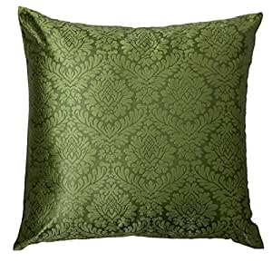 The White Petals Green Euro Sham, Damask Sham (Set of 2 Covers, 26x26 inches)