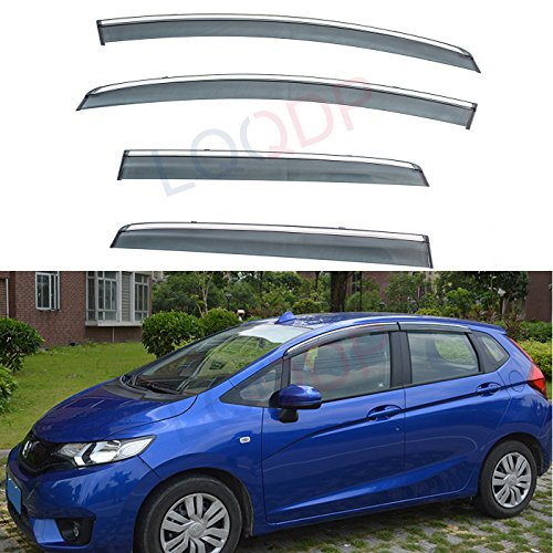 LQQDP 4pcs Smoke Tint With Chrome Trim Outside Mount Tape On/Clip On Style PVC Sun Rain Guard Vent Shade Window Visors Fit 15-18 Honda Fit 3-Door Hatchback