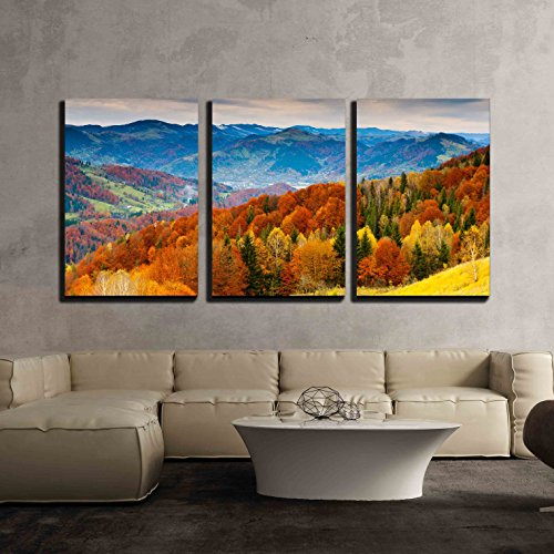 wall26 - 3 Piece Canvas Wall Art - the Mountain Autumn Landscape with Colorful Forest - Modern Home Decor Stretched and Framed Ready to Hang - 24