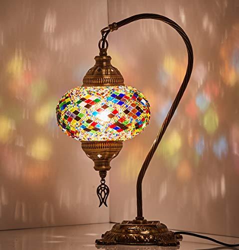 New BOSPHORUS Stunning Handmade Swan Neck Turkish Moroccan Mosaic Glass Table Desk Bedside Lamp Light with Bronze Base Multicolor