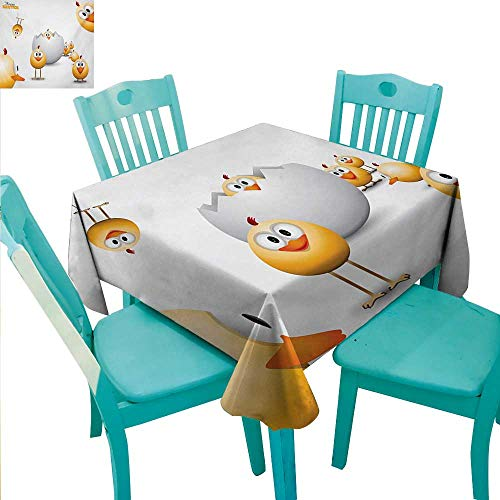 Easter Elegant Waterproof Spillproof Polyester Fabric Table Cover Happy Chicks Emerging Out of a Cracked Egg Funny Cartoon Style Animals Runners,Gatsby Wedding,Glam Wedding Decor,Vintage Weddings 50