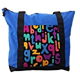 Lunarable ABC Kids Shoulder Bag, Childish Cheerful Alphabet, Durable with Zipper