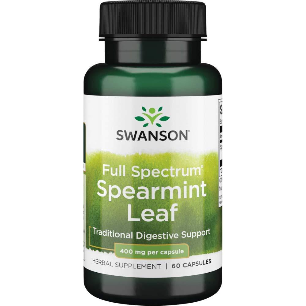 Swanson Spearmint Leaf Digestive Health Supplement Full Spectrum 400 mg 60 Capsules