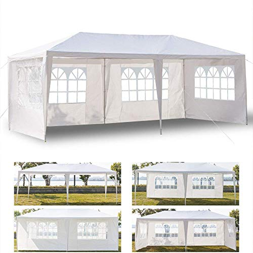Crazyworld 10' x 20' Outdoor Canopy Wedding Party Tent,w/ 4 Removable Sidewalls,Upgraded Thicken Tube Sun Shelter SHED Gazebo Pavilion Garden Pool BBQ Event ()