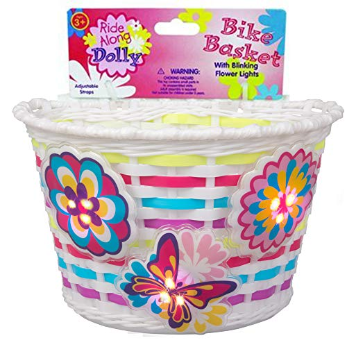 Ride Along Dolly Bike Basket with Lightups - Kid's Bicycle Basket with Three Motion Activated Blinking - Girl Bicycle Basket