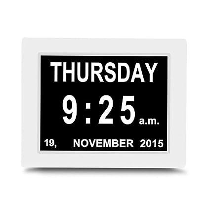 Visualizza Calendario.Tmy Orologio Elettronico Sveglia Da 8 Pollici Orologio Multilingue Con Promemoria 12 24 Ore Visualizza Calendario Mese E Giorno Color White