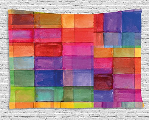 Colored Tapestry (Abstract Tapestry by Ambesonne, Rainbow Colored Geometric Square Shaped with Blurry Hazy Effects Watercolor Design, Wall Hanging for Bedroom Living Room Dorm, 60 W X 40 L Inches, Multicolor)