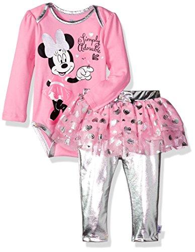 Disney Baby Girls' Minnie Mouse 2 Piece Skegging and Bodysuit Set, Prism Pink, 12 Months