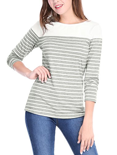Allegra K Women's Round Neck Long Sleeves Color Block Striped Tops T Shirts Light Gray L (US - Cream Striped Shirt