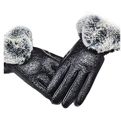 Susenstone Women Leather Winter Warm Gloves Rabbit Fur Mittens
