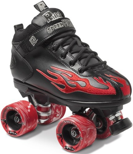 Rock Flame Skate Package Black with Red Flame sz Mens 1