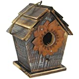 Wood & Iron Metal Daisy Birdhouse