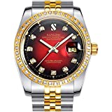 Clearance Red Dial White Diamonds Men's Two-Tone Stainless Steel Band Automatic Mechanical Watches