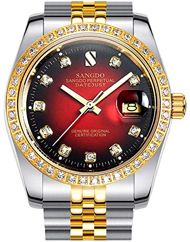 Diamonds White Dial - Clearance Red Dial White Diamonds Men's Two-Tone Stainless Steel Band Automatic Mechanical Watches