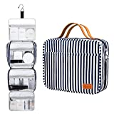 Bosidu Hanging Toiletry Bag for Women and Men, Large Capacity Water-resistant Travel Toiletry Bag with 4 Compartments & 1 Sturdy Hook, Ideal for Travel or Daily Use (Navy Blue & White Striped)