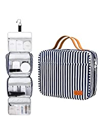 Bosidu Hanging Toiletry Bag for Men and Women, Large Capacity Water-resistant Travel Toiletry Bag with 4 Compartments & 1 Sturdy Hook, Ideal for Travel or Daily Use (Navy Blue & White Striped)