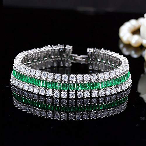 Wedding's Luxury Accessories | Wide Bangles | Handmade Pave 3 Rows Cubic Zirconia Bridal Bracelets | for Women Jewelry ()