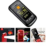 Peedeu GSM Unlocked Flip Phone with 24' Touch Screen, Dual Sim Flip Phone Unlocked with Dual Answering Calling, Unlocked Flip Cell Phone with One Torch, Big Button Hearing Aids, FM for Seniors