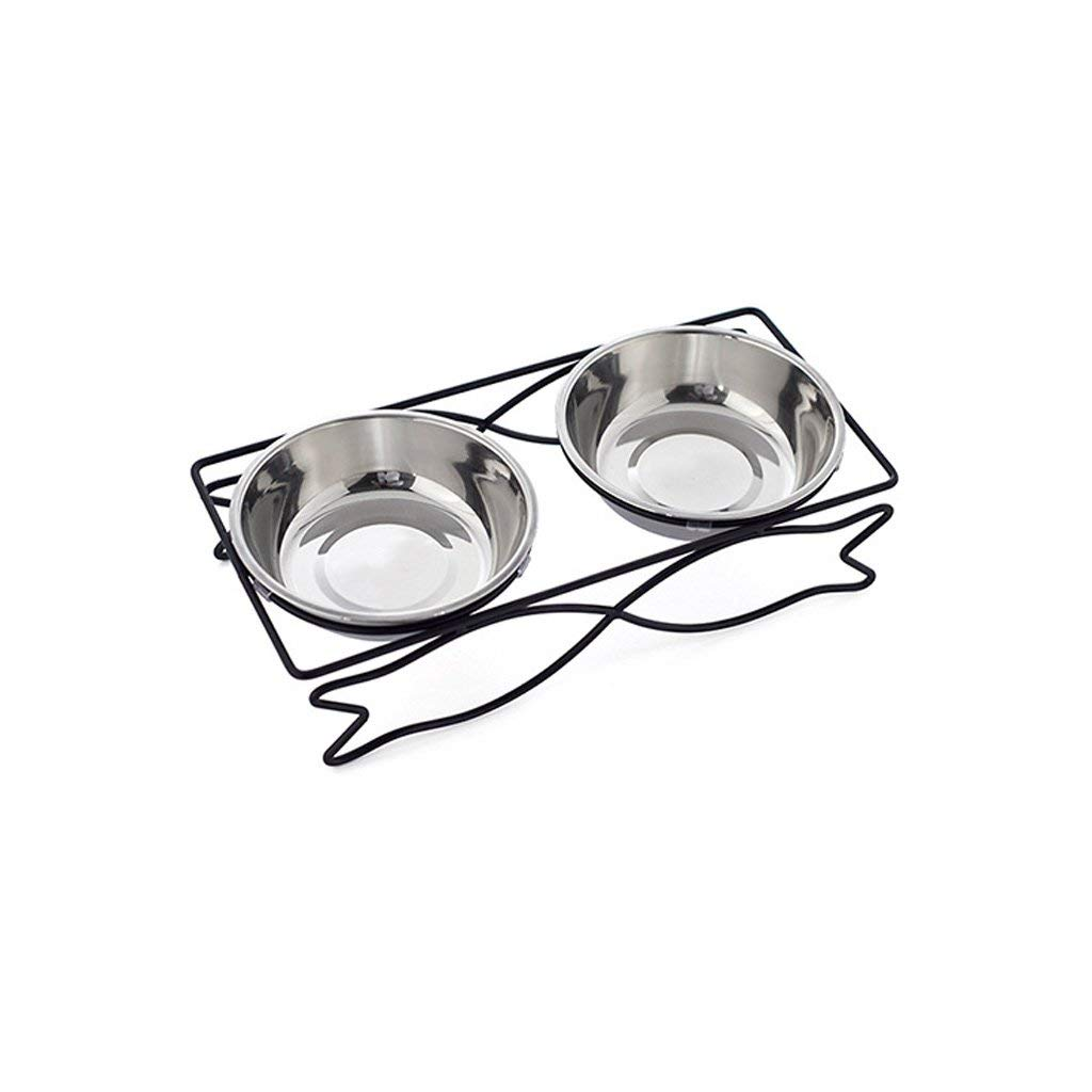 B.31x14.8x8cm IF.HLMF Pet Bowl Food Fish Shaped Iron Frame Stainless Steel Double Bowl Cat And Dog (Size   B.31x14.8x8cm)