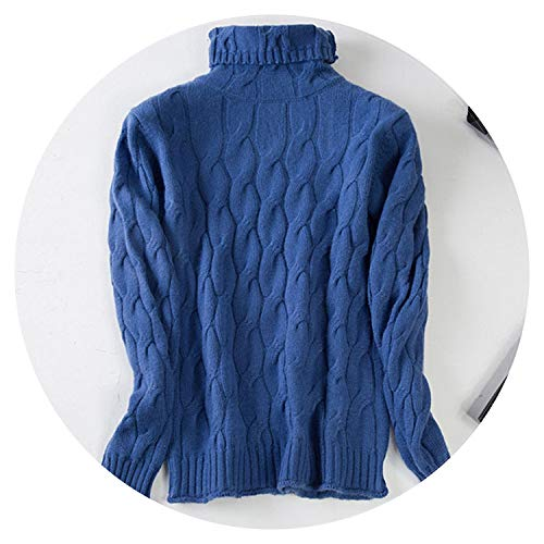 Gooding life Pure Cashmere Pullover Sweater Women 2018 Autumn Winter Turtleneck Cable Knitted Soft Casual Bottom Shirt Pulls,Blue,M