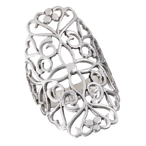 .925 Sterling Silver Large Heart Scrollwork Filigree Ring, Size ()